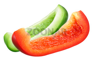 Red and Green Bell Pepper Slices
