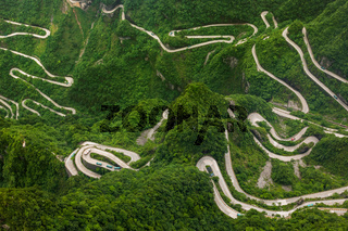 Mountains road in Tianmenshan nature park - China
