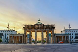 Berlin Germany, sunrise city skyline at Brandenburg Gate (Brandenburger Tor)