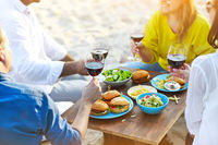 Summer picnic with red wine
