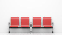 red waiting chairs in front of white wall. 3d illustration