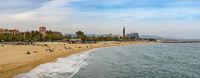 Barcelona Spain, panorama city skyline at Barcelona beach and port