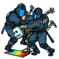 Fight the future. Robot. Police arrest activist protest lgbt gay parade