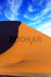 The tourist climbs up a huge dune