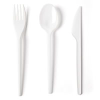 Plastic Fork Spoon and Knife on White