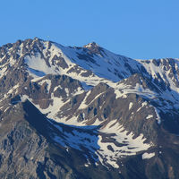 Mountain seen from Obermutten, Canton of Grisons. Parpaner Rothorn.