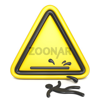 Comic funny wet floor sign with falling man 3D
