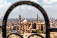 View on the Mosque-madrasa of Sultan Hassan through the old gate of the Citadel in Cairo