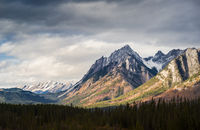 Dramatic Cloudscape Sky and Distant Snowcapped Mountain Peaks Canadian Rockies