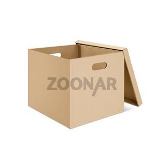 Blank cardboard box with open lid