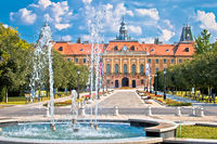 Sombor fountain square and city hall view