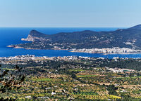 Top view of San Antonio de Portmany. San Antonio (also Sant Antoni) is the second largest town in Ibiza Island. Balearic Islands. Spain
