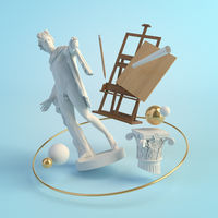 3d illustration concept of the ancient art, statue of Apollo Belvedere, column, easel, creative