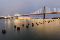 Panoramic view of the Bay Bridge from the Port of San Francisco.