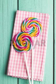 Swirl colorful lollipops.