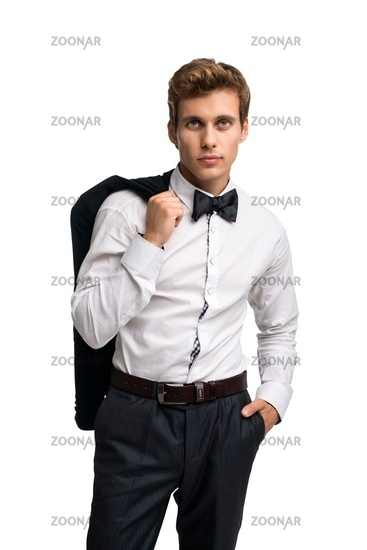 Handsome male wearing black bow-tie