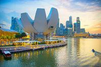 Singapore skyline with ArtScience museum