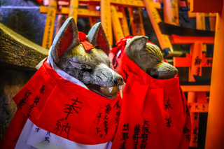 Fox statues at Fushimi Inari Taisha, Kyoto, Japan