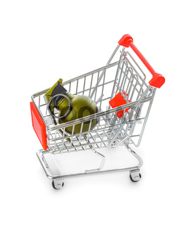 Hand grenade in shopping cart