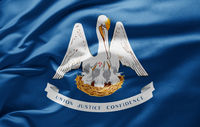 Waving state flag of Louisiana - United States of America