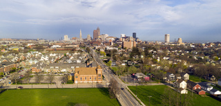 Aerial View Cleveland Downtown Skyline Storm Approaching