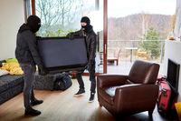 Zwei Einbrecher klauen Fernseher aus Haus