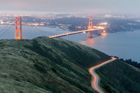 Aerial views of the Golden Gate Bridge from Slacker Hill near Sausalito.
