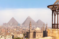 Egypt world known sights, view on the Pyramids of Giza and the Mosque of Cairo
