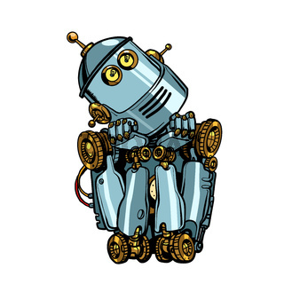 robot artificial intelligence thinks dreams. isolate on white background