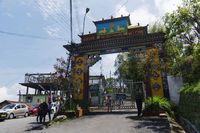 SIKKIM, INDIA, May 2014, Tourist at the entrance of Rumtek Monastery