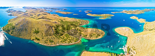 Amazing Kornati Islands national park archipelago panoramic aerial view
