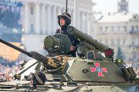 Tanks on military parade in Kiev, Ukraine