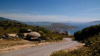 Landscape with the military bunkers near Lekuresi Castle, Saranda, Albania