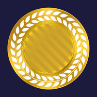 Gold wreath seal. Quality label premium background.
