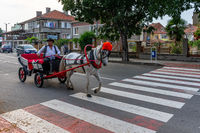 The traditional entertainment of tourists in town - a trip on a horse-drawn phaeton.