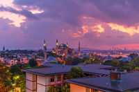 Hagia Sophia, the Bosphorus and the roofs of Istanbul, evening photo