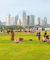 People rest Marina Barrage. Singapore
