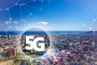 5G or LTE presentation. Barcelona modern city on the background