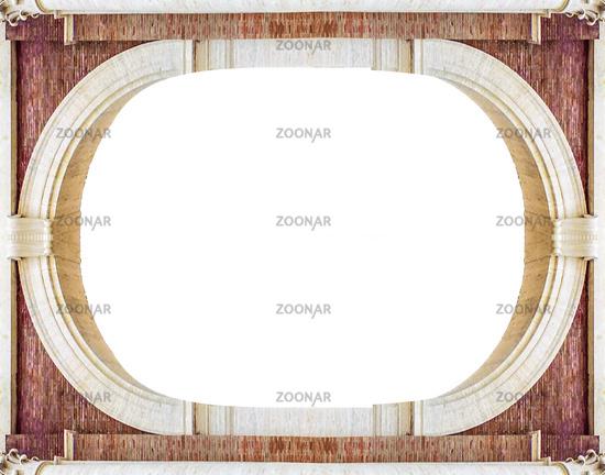 Photo Renaissance Style White Landscape Frame Background Image #12433835