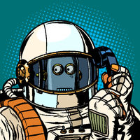 Robot astronaut talking on the phone