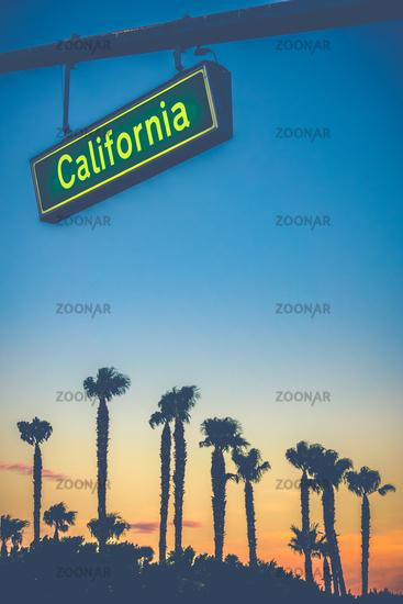 California Street Sign At Sunset