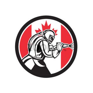 Sandblaster Abrasive Blasting Canada Flag Circle