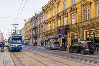 Local Trams in Krakow in Poland