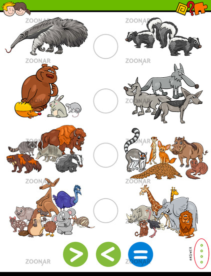 greater less or equal task with wild animals