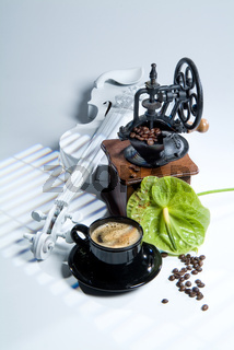 Coffee Mill, Cup And Coffee beans