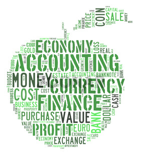 wordcloud finance and business words on apple shape