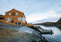 Rovaer in Haugesund, Norway - januray 11, 2018: The Rovaer Kultur Hotell, the cultural hotel at the Rovaer archipelago in Haugesund.