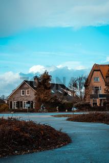 Quiet European Neighborhood Village Vertical Landscape Sky Copy Space Quaint
