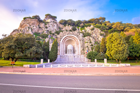 Hill carved Monument aux morts de Rauba-Capeu in Nice