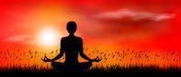 Yoga meditation on sunset background